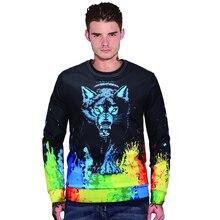 Autumn Winter Streetwear Men Sweatshirts Fashion 3D Printed Wolf Hoodies O-neck Long Sleeves Pullover Mens Casual