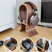 JINSERTA U Shape Wooden Headphones Stand Multi function Holder Universal Headset Desk Display Shelf Rack Hanger