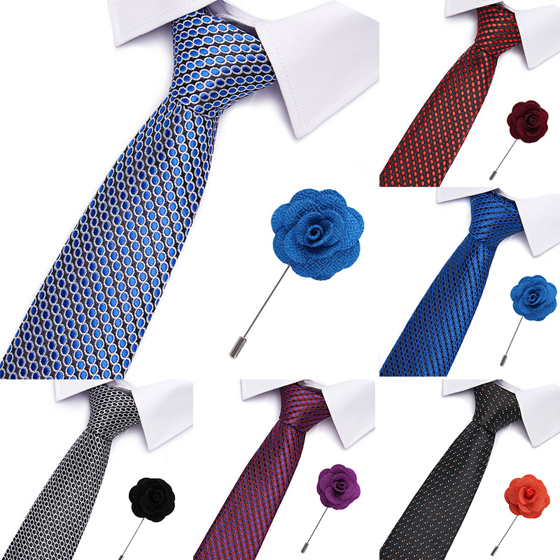 Necktie Set For Men Ties Fashion Jacquard Striped Neck Tie Green Wedding Business Slim 6cm Skinny Tie &brooch Set