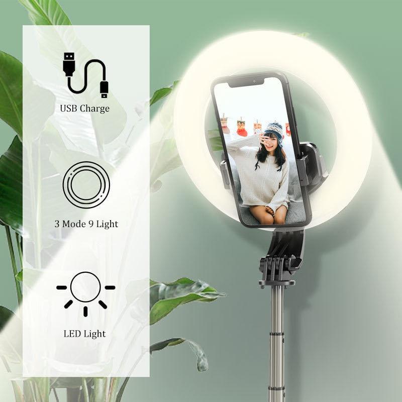 Drahtlose Bluetooth Selfie Stick Faltbare Handheld Fernauslöser Stativ Mit 5 zoll LED Ring Fotografie Licht Für Android Xiaomi