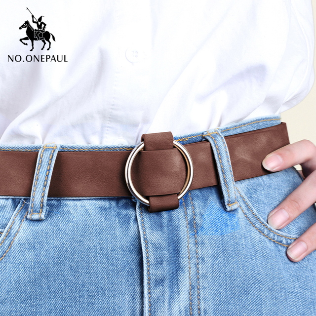 Genuine quality ladies fashion latest needle-free metal round buckle belt 4