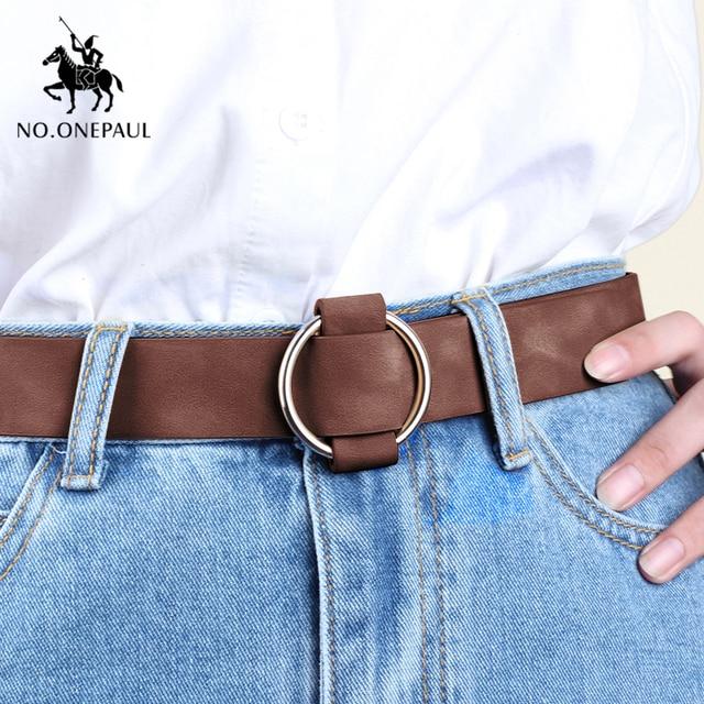 NO.ONEPAUL Genuine quality ladies fashion latest needle-free metal round buckle belt jeans wild luxury brand the women belt for 8