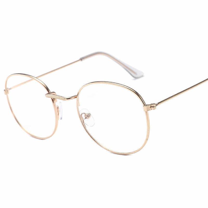 Moda redonda feminino óculos quadro clássico armação de metal óculos ópticos transparente computador oval óculos de leitura quadro