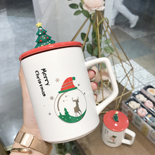 Creative Cartoon Christmas Mugs Ceramic Coffee Cups with Lid Milk Mug Spoon Included Tea Cup Gifts Cup for Couple Weird Gifts cartoon cute cup ceramic about 350ml mug breakfast coffee milk cup couple drinking cup creative student with cup handgrip mugs