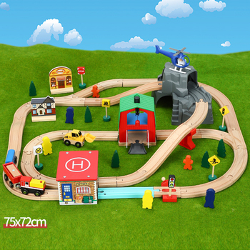 Helipad transport cave train wooden track set children's rail car toy compatible with wooden train tracks and electric trains 10 50 pcs lot city electric power trains train track rail straight