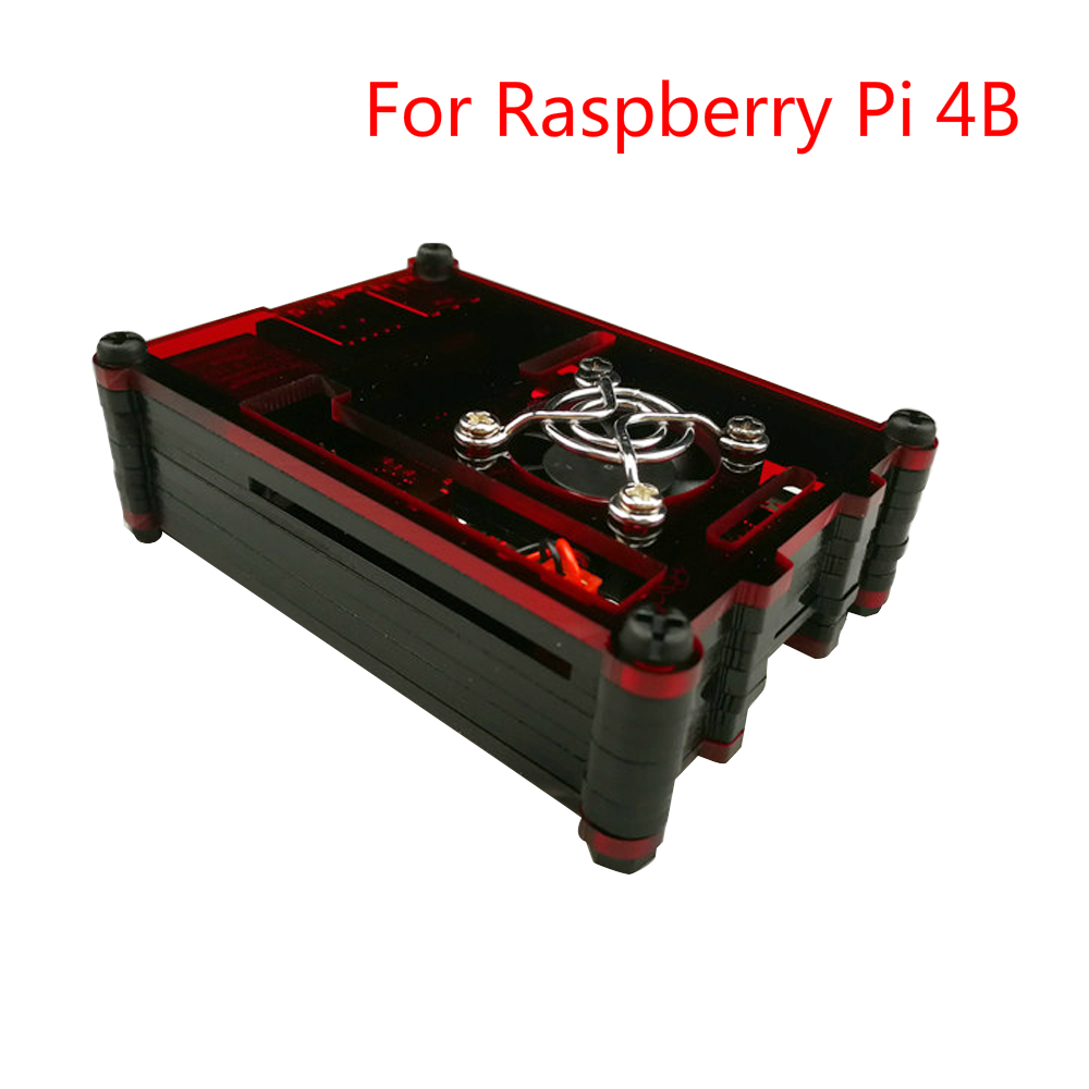 Raspberry Pi 4B Case Acrylic Case Box Cover 9 Layer With Cooling Fan Enclosure Colorful Heat Sink For Raspberri Pi 4 Model B
