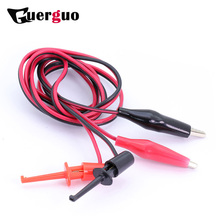 High Quality 100pcs Dual Hook Clip Test Probe Cable Leads Alligator clips 28mm black&red Crocodile clip hook line DIY