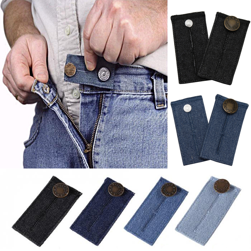 1Pc Unisex Skirt Trousers Jeans Waist Expander Waistband Extender Button Pant Elastic Extender Button Belt Extension Buckle