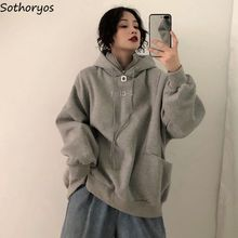 Hoodies Frauen Langarm Oversize Mit Kapuze Brief Bestickt Plus Samt Dicker Frauen Sweatshirts Harajuku Koreanische Trendy Chic