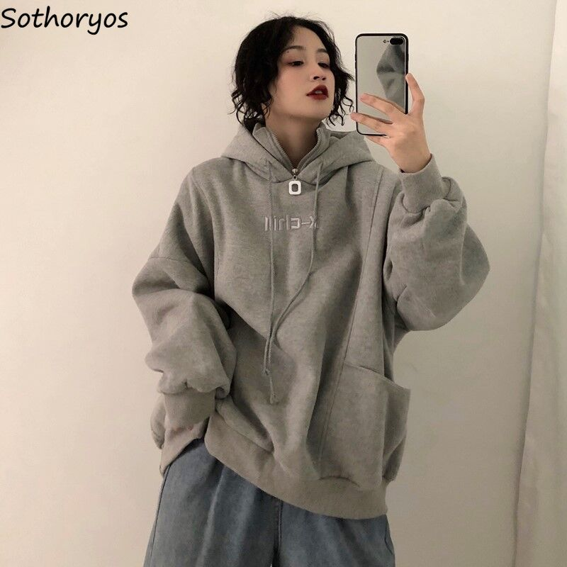 Hoodies Women Long Sleeve Oversize Hooded Letter Embroidered Plus Velvet Thicker Womens Sweatshirts Harajuku Korean Trendy Chic