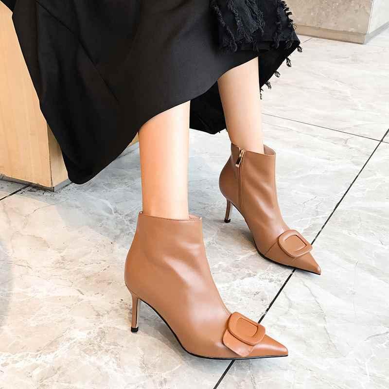 ALLBITEFO אופנה אבזם עור אמיתי עקבים גבוהים קרסול מגפי נשים גבוהה באיכות עור מגפי חורף שלג נשים מגפיים