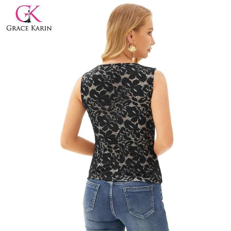 Grace Karin Fashion Vrouwen Elegante Mouwloze Kant Tops Sexy Geschulpte Elastische Cami Tops Lady Sexy Slim Fit Sling