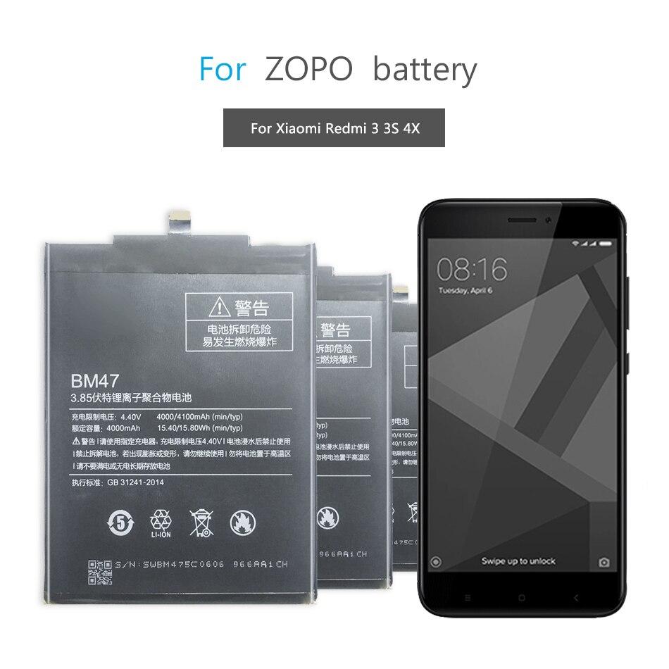 BM47 Mobile Phone Battery For Xiaomi Redmi 3 3S 3X 4X Redmi3 Pro Hongmi Redrice 3 3s Replacement Battery BM47 4100mAh