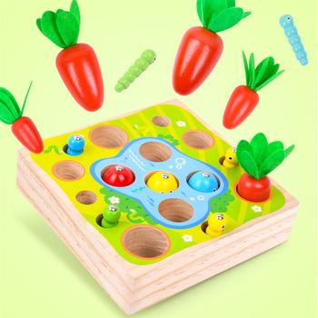 Drewniany zestaw dziecięcy Montessori ciągnięcie rzodkiewki zabawki marchewka wędkarstwo inteligencja dziecięca wczesne nauczanie materiał bezpieczeństwa edukacyjnego tanie i dobre opinie ohye CN (pochodzenie) keep away from fire 2-4 lata 5-7 lat Chiny certyfikat (3C) Zwierzęta i Natura 25*16 8*4 5cm