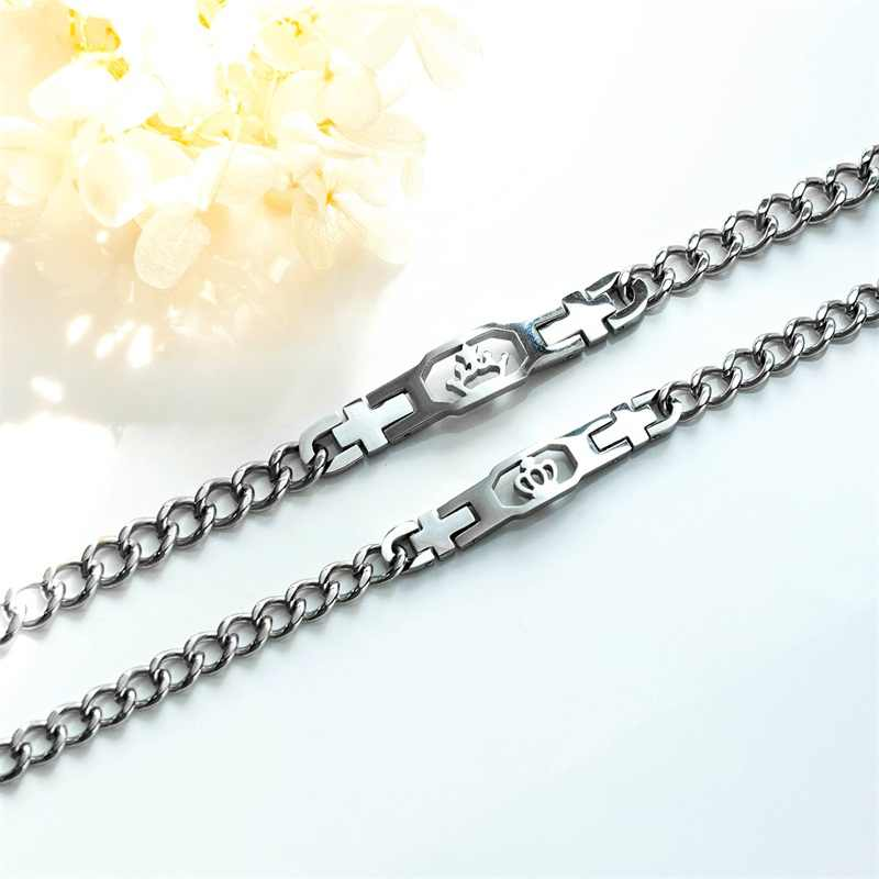 AZIZ BEKKAOUI srebrny kolor bransoletki dla par z koroną bransoleta ze stali nierdzewnej dla kobiet mężczyzn Lover obietnica biżuteria Dropshipping