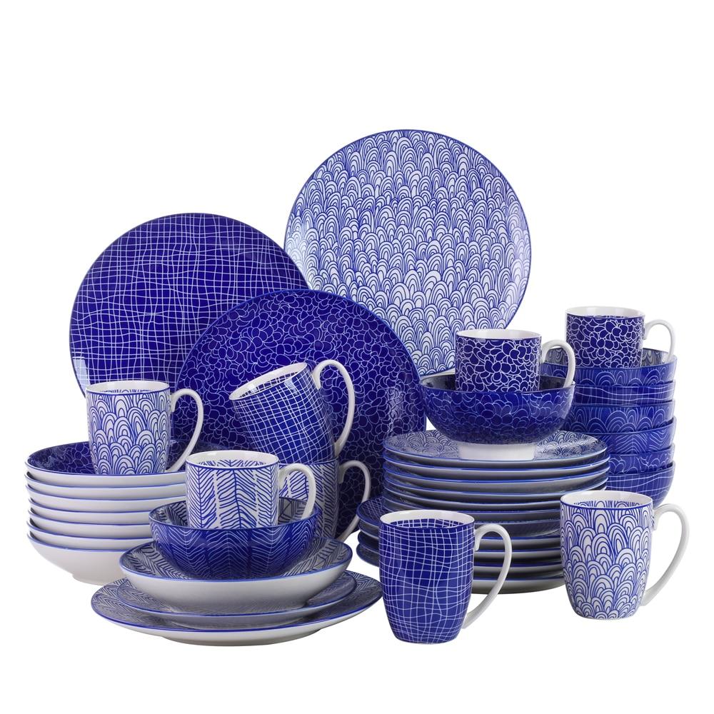 Vancasso TAKAKI – service de table en porcelaine de Style japonais, 40 pièces, 4 modèles, assiette à dîner, assiette à Dessert, assiette à soupe, bol, tasse