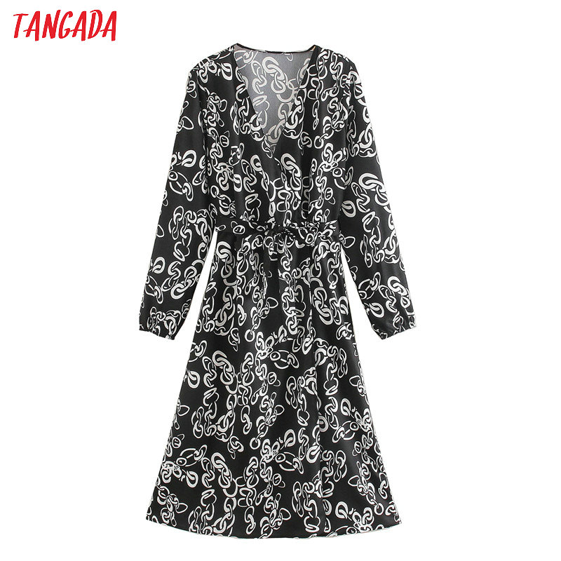 Tangada Fashion Women China Print Elegant Dress 2020 New Arrival Long Sleeve Ladies V Neck Midi Dress Vestidos XN272