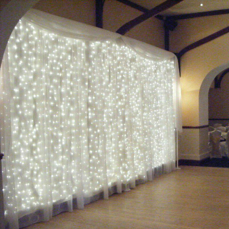 300 LED USB String Curtain Fairy Lights Hanging Wall Lamp Wedding Party 8 Modes Waterproof Decorate Christma Outdoor Garland Whi