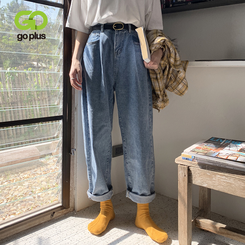 GOPLUS Jeans Korean Style Women High Waist Plus Size Mom Jeans Boyfriends Streetwear Harem Pants Vaqueros Mujer Jeansy Damskie
