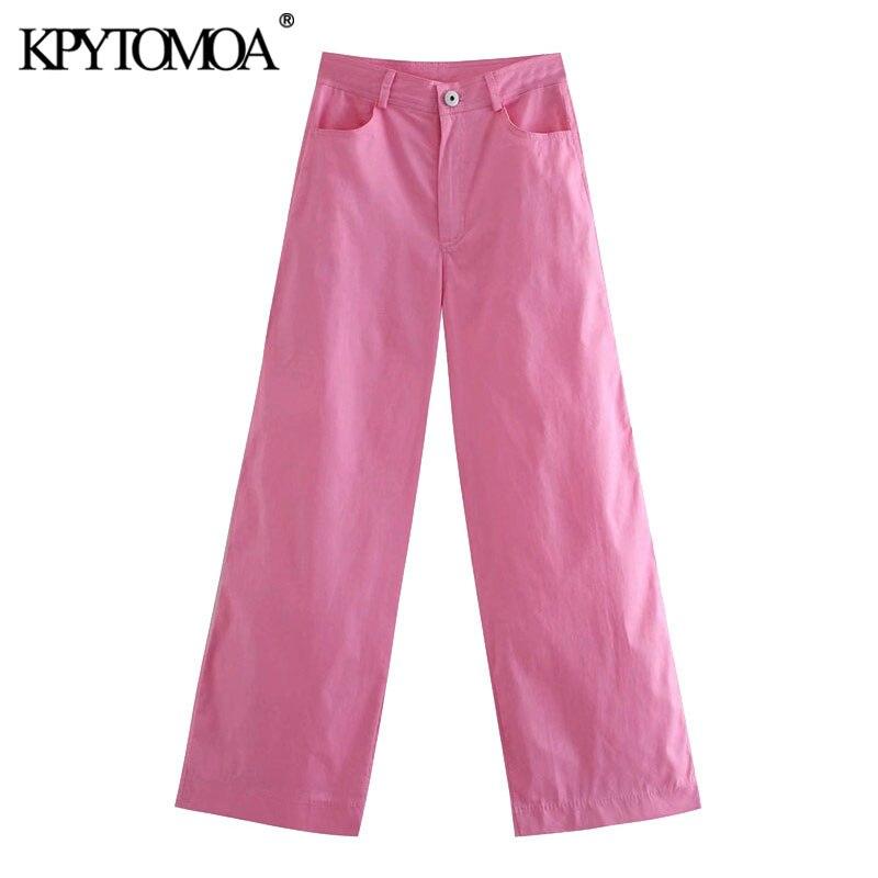 KPYTOMOA Frauen 2020 Chic Mode Seite Taschen Breite Bein Hosen Vintage Hohe Taille Zipper Fliegen Weibliche Hose Mujer