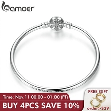 Pulseira de prata refinada 925 autêntica bamoer, fecho de floco de neve único como você é pulseira e bracelete joia diy pas915