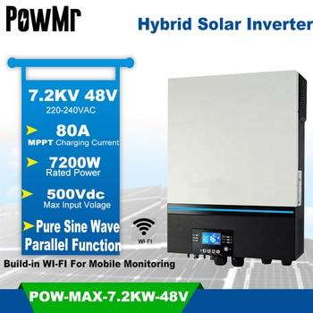 7200VA Inversor híbrido Solar de 230V 48V 48V 500Vdc de entrada PV 80A MPPT Cargador Solar incorporado en WIFI soporte bateria de litio para bibicleta BMS Inversor Solar 1