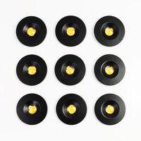 Mini foco de armario LED IP65 de 1W, luz de techo para escaleras, Focos de luz descendente, carcasa negra y plateada, 9 Uds.
