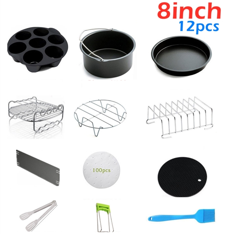 12pcs/set High Quality 8 Inch Air Fryer Accessories for Gowise Phillips Cozyna and Secura Fit all Airfryer 5.3QT to 5.8QT