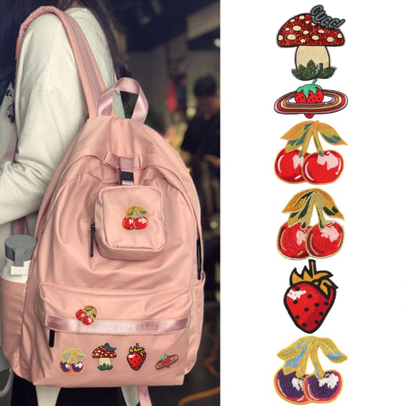 Embroidery Cloth Stickers Patch Stickers Sequins Mushroom Cherry Strawberry Badge Patches Cute Cartoon Sewing Applique Clothes