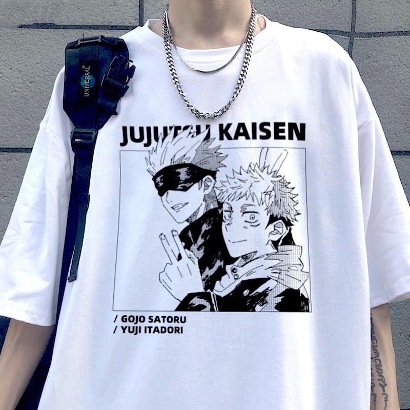 Летняя женская футболка, крутая футболка унисекс Kaisen Yuji Itadori, футболка оверсайз Харадзюку ююютсу с коротким рукавом, аниме забавная Футболк...
