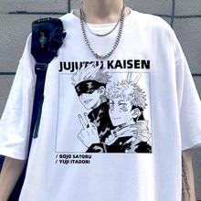 Camisa de manga curta de harajuku jujutsu anime engraçado impresso camisa de manga curta de verão