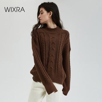 Wixra New Chunky Sweater Women Autumn Winter Solid Basic Knitted Pullover Women Casual Turtleneck Jumpers Female Tops