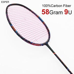 Esper профессиональная ракетка для бадминтона из углеродного волокна 58 г 9U, сверхлегкая графитовая ракетка со шнурком и подарками для спортив...