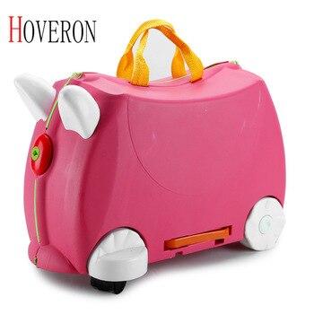 Maleta de viaje para niños de moda, cochecito de paseo, maletas de animales multicolores, Estuche Duro para niños, caja de almacenamiento para niños de color blanco y verde