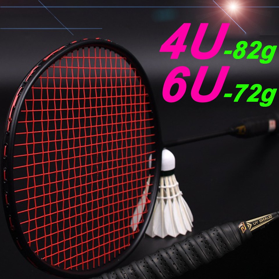 4U 82G / 6U 72G Professional Carbon Fiber Badminton Rackets Super Light Weight Multicolor Rackets 25-27lbs Sports Force Padel
