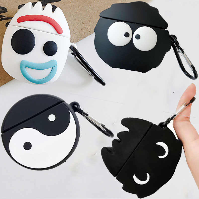 For Apple AirPods Case 3D Cute Cartoon Funny Taiji Train Dragon Black Coal Ball Wireless Earphone Earpods Cover for Airpods 2