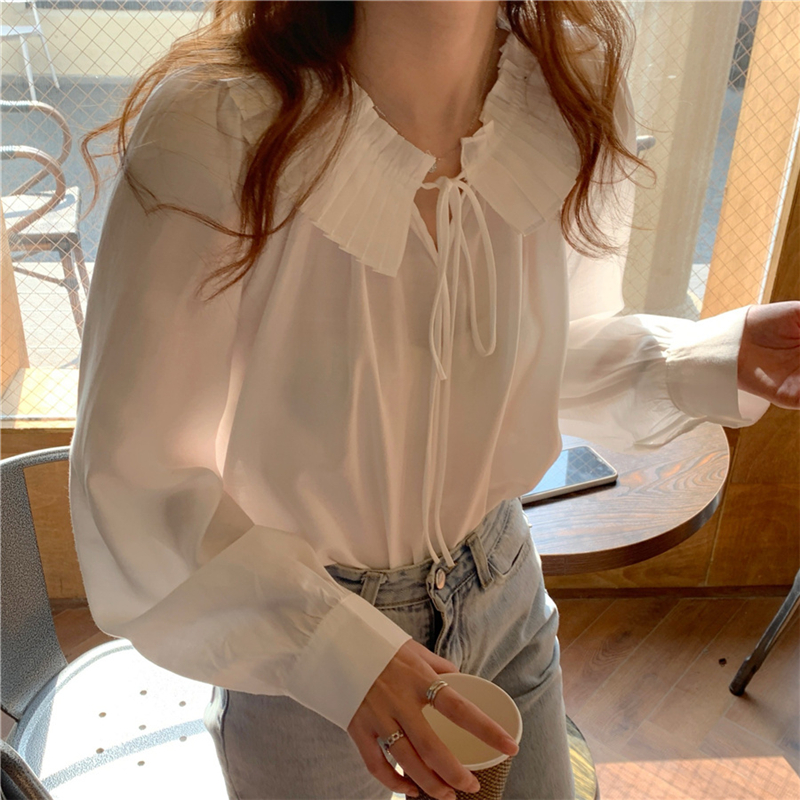 Hb3885525bff349668736493fd2217ffdc - Spring / Autumn Lace-Up Collar Long Sleeves Loose Solid Blouse