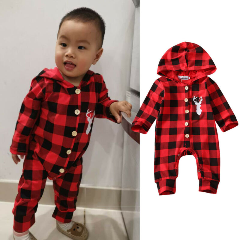 Pudcoco Spring Clothing Newborn Infant Baby Boy Girl Cotton Plaid Romper Hooded Jumpsuit Clothes Outfits Long Sleeve Sunsuit