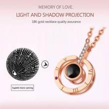 Eu te amo em 100 idiomas projeção coração forma colar liga pingente moda jóias