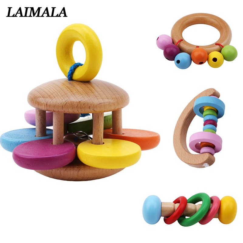 Baby Bell Wooden Toys Rattle Musical Educational Toys Instrument Rattles Handle Toys For Newborns Childen Kids Toy