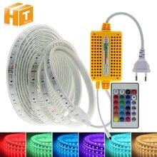 Bande de LED 220V RGB, couleur 5050 RGB, changeante avec télécommande à 24Key, étanche, utilisation en extérieur, bande de lumière LED Flexible