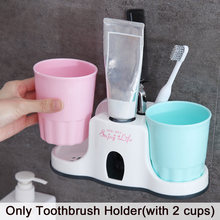 Stand Toothbrush Holder Home Squeezer Toothpaste Dispenser Automatic Wheat Straw Bathroom Accessories Cute Organizer With 2 Cups(China)