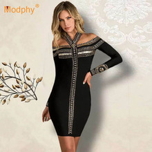 Spring 2020 New Women'S Fashion Bandage Dress Sexy Halter Long Sleeve Beaded Bod