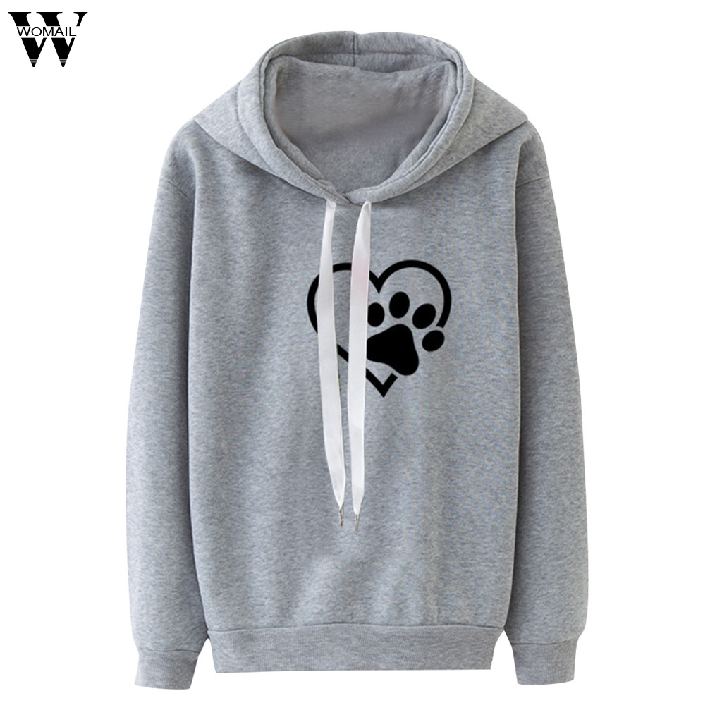 Womail Sweatshirts Women's Long Sleeve Casual Hooded Autumn  Pullover Top Blouse Hooded Solid Women Sweatshirts Sudadera M-XXXL