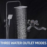 Rain Shower Bathroom Rain Waterfall Shower Faucets Set Concealed Chrome Shower System Bathtub Shower Mixer Faucet Tap