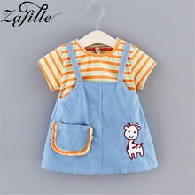 ZAFILLE Girls Casual Dress Patchwork Baby Girl Clothes Striped Kids Clothes Toddler Infant Baby Girl Dress Summer Girls Clothing zafille baby girls clothes soft summer dress for girl sleeveless kids clothes toddler patchwork girl dress cotton girls clothing