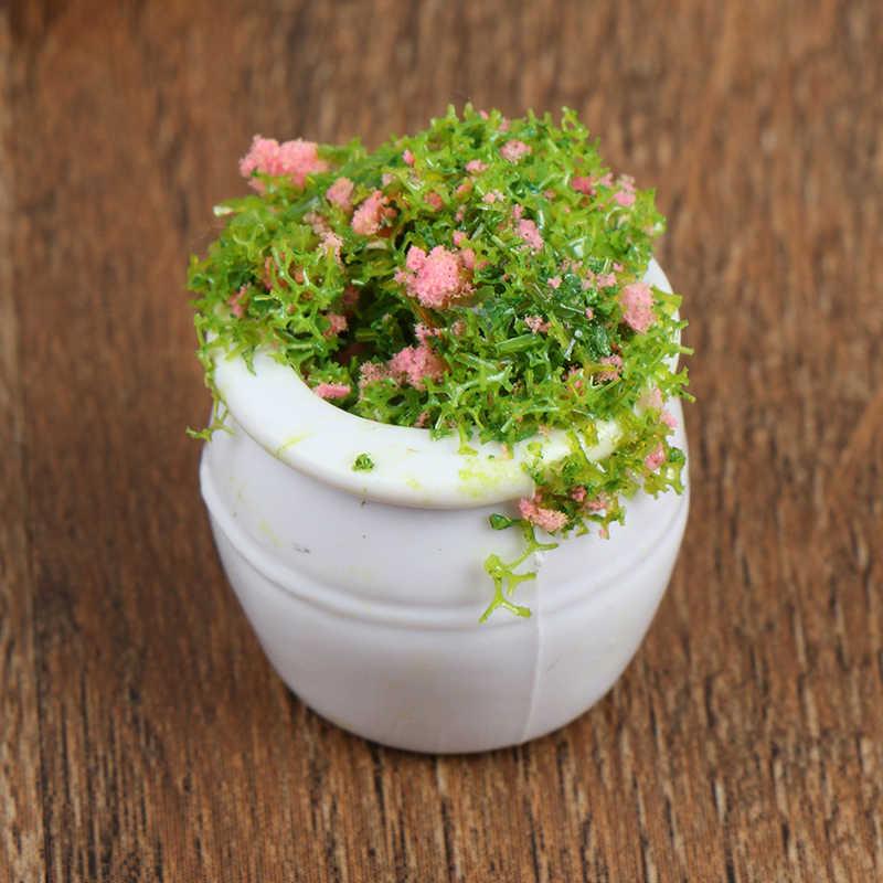 2Pcs Poppenhuis Meubels 1:12 Accessoires Mini Groene Plant Bonsai Bloempotten Meubels Speelgoed Voor Baby Kids