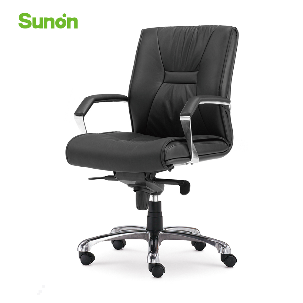Black Soft Leather Computer Armrest Chair Ergonomic Middle Backrest Boss Chair Executive Chair For Office Company