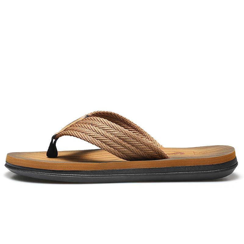 Cartelo sapatos masculinos flip flops casual praia ao ar livre resistente a luz chinelos masculino