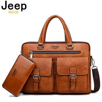 JEEP BULUO Marca Briefcase Bag 2 Man'sBusiness pçs/set Dividir Couro de Alta Qualidade Dos Homens Sacos De escritório Para 13. 3 polegadas portátil a4 causel 1